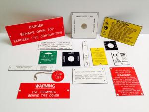 Warning labels, switch plates, industrial markings